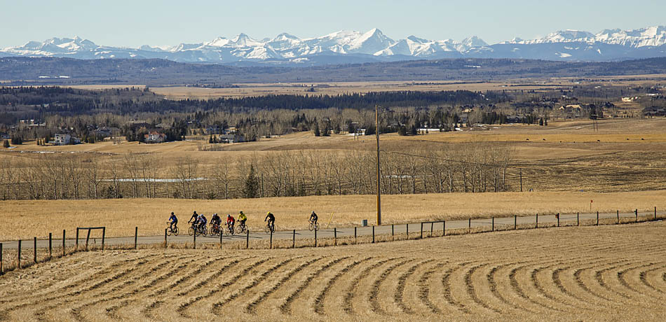 A group takes their road bikes out for their traditional sunday ride in Calgary on Sunday, March 8, 2015. The groups favourite spot to ride is through spring bank so they can see the mountains as the ride. (Photo by Megan Bjornson/The Press)