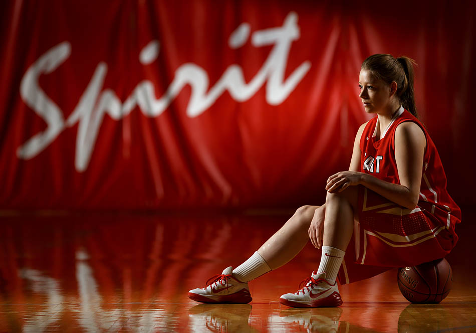 Kendal Kuntz poses in the Campus Centre at SAIT Polytechnic in Calgary on Monday, Feb. 23, 2015. Kuntz was a guard on the SAIT Trojans women's basketball team for the 2014-2015 season. (Photo by Aryn Toombs/The Press)