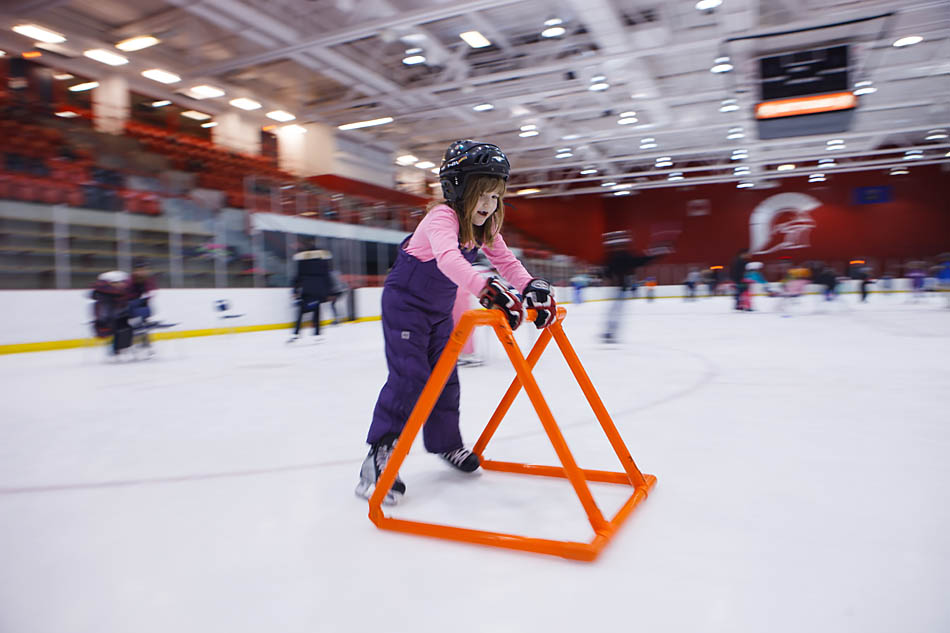 Hayley Black skates at the Trojans Arena on SAIT campus in Calgary on Wednesday, Feb. 11, 2015.  The class was there for a field trip to learn how to skate.    (Photo by Mikaela MacKenzie/SAIT Polytechnic)