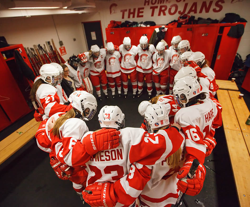 The SAIT Trojans women's hockey team prepares for the game at the SAIT arena in Calgary on Friday, Nov. 21, 2014. The Trojans won  against the Grant MacEwan University Griffins in a shootout after a close game.  (Photo by Mikaela MacKenzie/The Press)