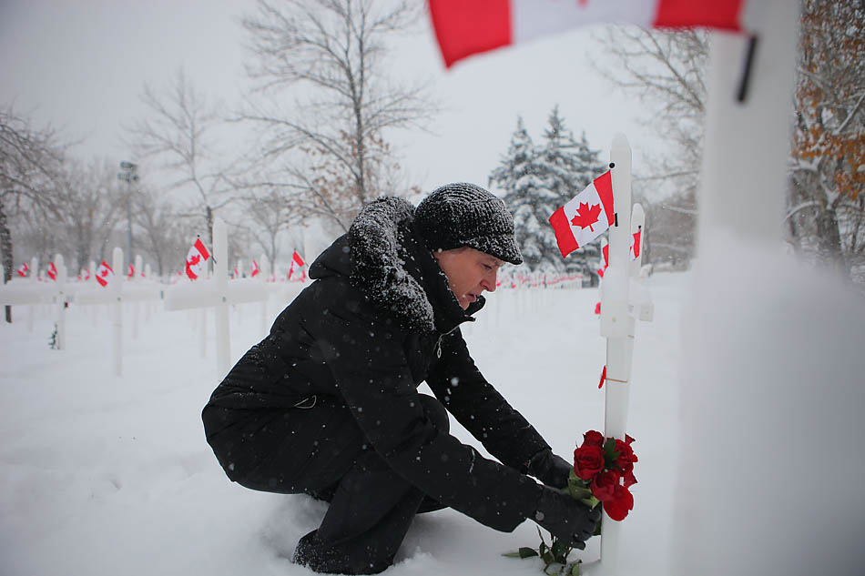Karen Halpen lays roses down in front of the cross commemorating her uncle in the field of crosses  in Calgary on Sunday, Nov. 9, 2014.  More than 3000 crosses honour soldiers from southern Alberta that died in wars, ranging from the Boer War in 1899 to the present-day United Nations Peacekeeping Force in Cyprus.  (Photo by Mikaela MacKenzie/The Press)