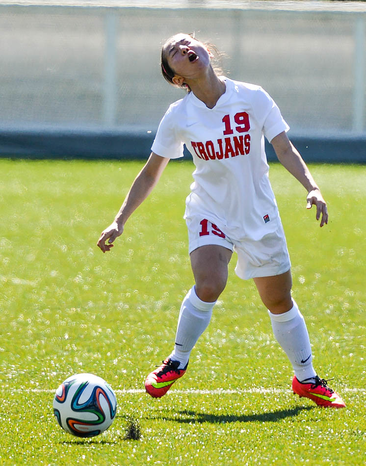 Hyu Jin Lee of the SAIT Trojans reacts to a missed pass on the Cohos Commons Field at SAIT on Saturday, Sept. 6, 2014. The SAIT Trojans squared off against the Olds Broncos and won 4-0. (Photo by Brad Harapiak/The Press)