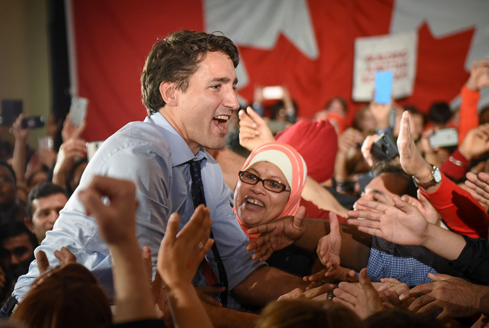 Trudeau Rally: Federal Liberal leader Justin Trudeau greets his supporters before delivering a speech at the Magnolia Banquet Hall. Trudeau was in Calgary just one day before Canadians went to the polls to elect a new government. (Photo by Tyler Marr/The Press)