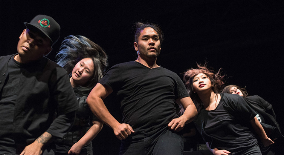 Krump Dance: Patrick DeGuzman, left, Alyce Cho, Derrick Fong, Marose Dalida, and Vienna Possemato, members of the dance crew the Tomorrows, perform a piece during Fifty Hype!, Calgary's first ever krump event held at the Big Secret Theatre. (Photo by Nikki Celis/The Press)