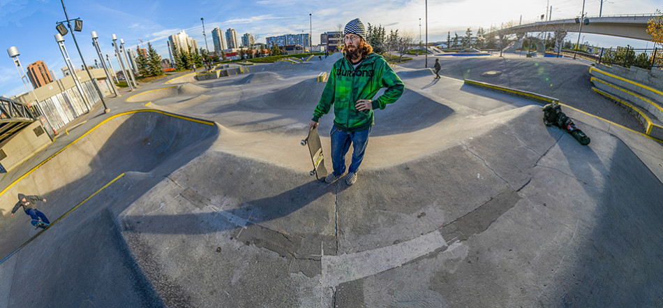 Skater Panorama Local skateboarder Jay White visits Shaw Millennium Park in downtown Calgary. To celebrate Calgary's new Skateboard Amenities Strategy, White is visiting each of the cities skateboard parks. This image is a panorama made up of multiple photos stitched digitally together. (Photo by Andy Maxwell Mawji/The Press)