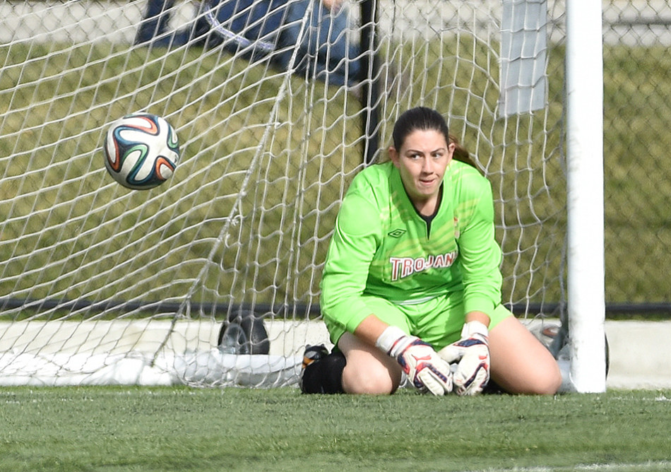 Close One: SAIT Trojans goalkeeper Malory Schilief watches the ball slip past her, and missing the net during a ACAC Women's Soccer action against the Lethbridge Kodiaks at SAIT's Cohos Commons Field. The Kodiaks defeated the Trojans by a score of 1-0. (Photo by Andy Maxwell Mawji/The Press)