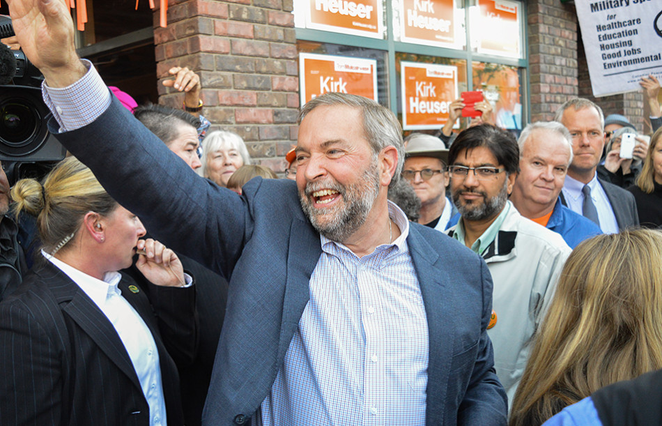 NDP Rally: Federal NDP leader Thomas Mulcair attends a local NDP rally in Calgary just before taking on the other party leaders in a leadership debate leading up to federal election. (Photo by Cassie Ford/The Press)