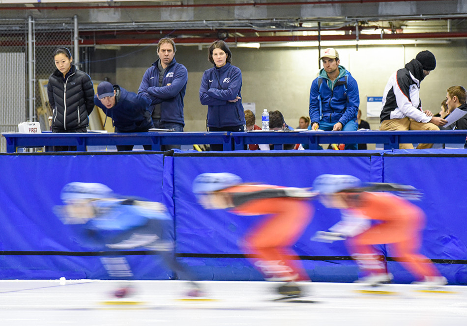 Fast Skaters: Coaches yell words of encouragement and tips to their athletes during the Intercontinental Short Track Invitational at the Olympic Oval. (Photo by Kenneth Appleby/The Press)