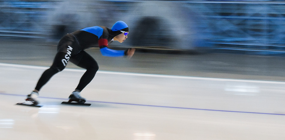 Fast Skater: A competitor rounds the corner during the Fall Classic long track speed skating competition at the Olympic Oval in Calgary Saturday, Sept. 26, 2015. The competition featured both men's and women's 500m and 1000m races. (Photo by Kenneth Appleby/The Press)