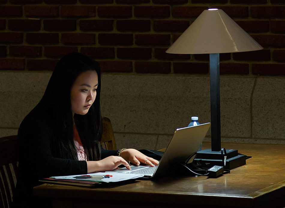 "Late Night Learner: Zayre Miranda studies quietly in a secluded alcove in Heritage Hall at SAIT in Calgary on Thursday, Feb. 16, 2017. Miranda is in the business administration program which she states can be ""stressful at times."" SAIT offers various areas for students to study in seclusion for more focused learning. (Photo by Victoria Cockriell/The Press)"