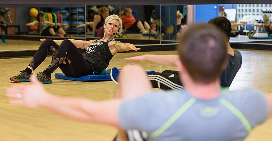 Fitness instructor, Kyra Page, demonstrates a set during the Wellness Centre's Lunch Crunch exercise program at SAIT in Calgary on Thursday, Feb. 16, 2017. Lunch Crunch is a half-hour long exercise program aiming to give a quick and intense workout to burn calories in a short amount of time. (Photo by Cyril Brabant/The Press)